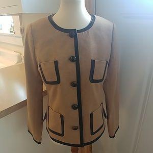 TRINA TURK Leather Trimmed Blazer Jacket sz 10